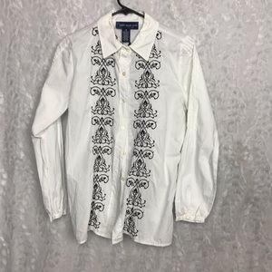 Susan Graver White XS Button up Black Embroidered